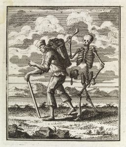 L0037503 Man carrying load is stalked by death, as a skeleton, 1764