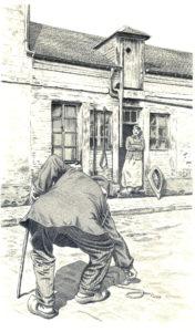 Illustration de la nouvelle _La Ficelle_ Maupassant (Gallimard-Jeunesse)